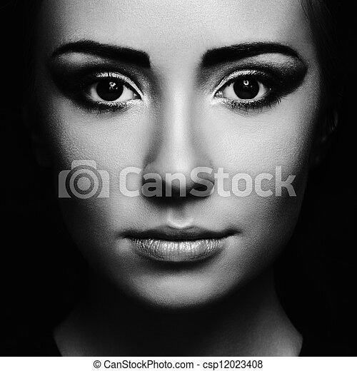 bello, misterioso, donna, giovane, ritratto - csp12023408