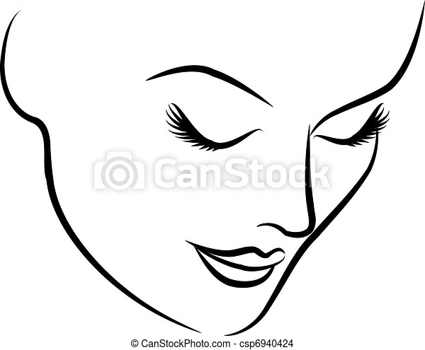 bello, moda, donna, faccia - csp6940424