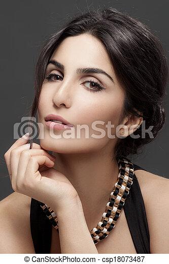 bello, moda, scuro, fondo., ritratto, woman. - csp18073487