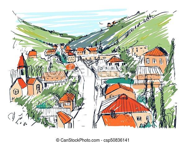 Bello Montagna Schizzo Illustration Città Hills Georgiano Strade Costruzioni Città Mano Localizzato Vettore Fra Piccolo