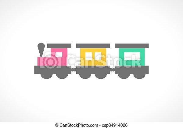 bello, multi, giocattolo, colorato, illustrazione, treno - csp34914026