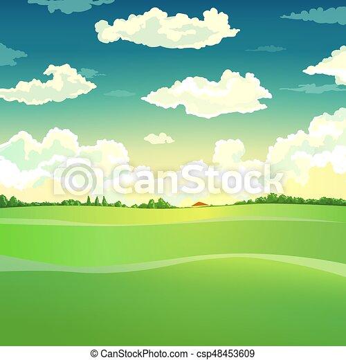 bello, paese, vettore, illustrazione, paesaggio. - csp48453609