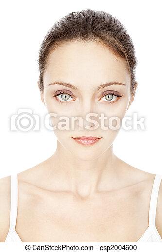 bello, ragazza, bianco, giovane, isolato - csp2004600