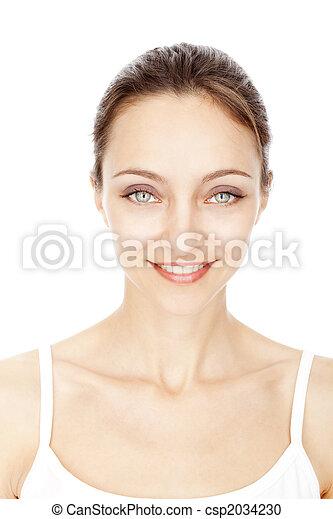 bello, ragazza, bianco, giovane, isolato - csp2034230