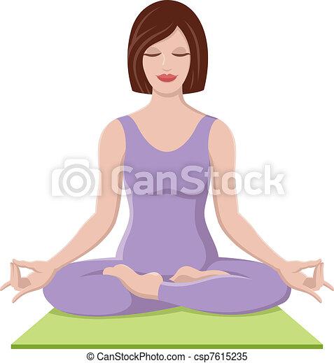 bello, ragazza, yoga - csp7615235