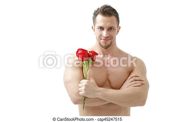 bello, rosa, light., isolato, fondo, sexy, bianco, dà, uomo - csp45247515