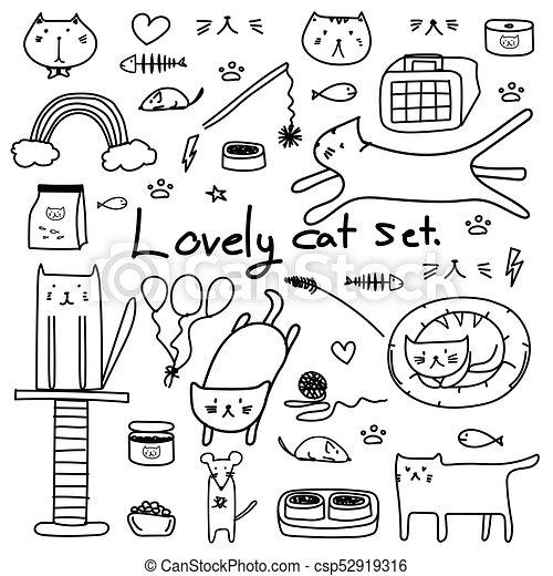 bello, scarabocchiare, set., mano, vettore, disegnato, linea, gatto - csp52919316
