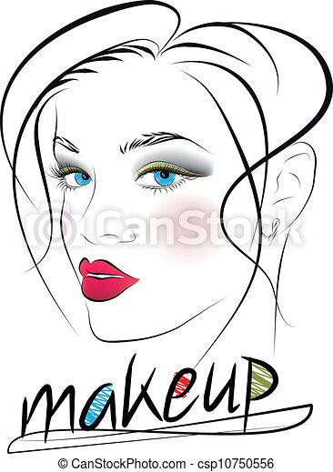 bello, schizzo, donna, face., illustrazione, vettore - csp10750556