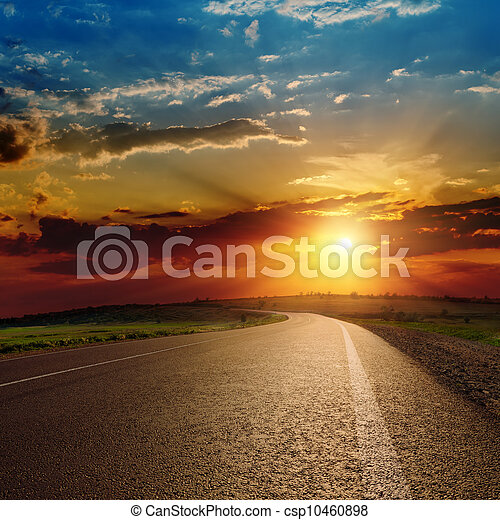 bello, sopra, tramonto, strada asfaltata - csp10460898