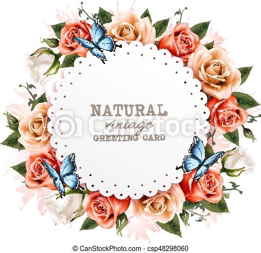 bello, vendemmia, augurio, rose, vector., butterflies., vacanza, scheda - csp48298060