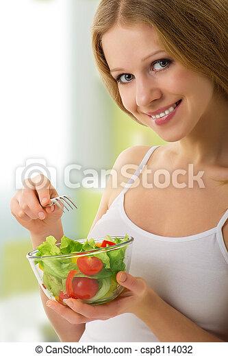 bello, verdura, vegetariano, ragazza, insalata - csp8114032