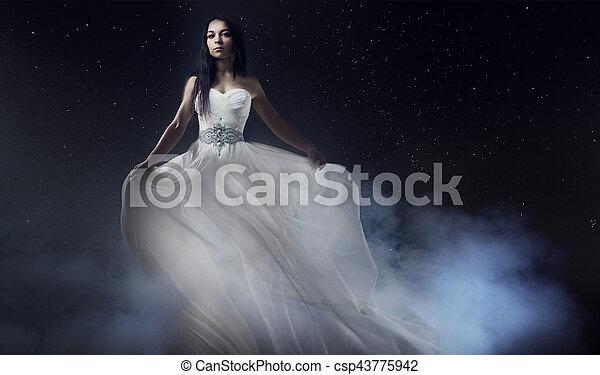bello, vestire, woman., ragazza, cielo stellato, giovane, lungo, fondo, sexy, misterioso, ritratto, bianco, mistico, stile - csp43775942