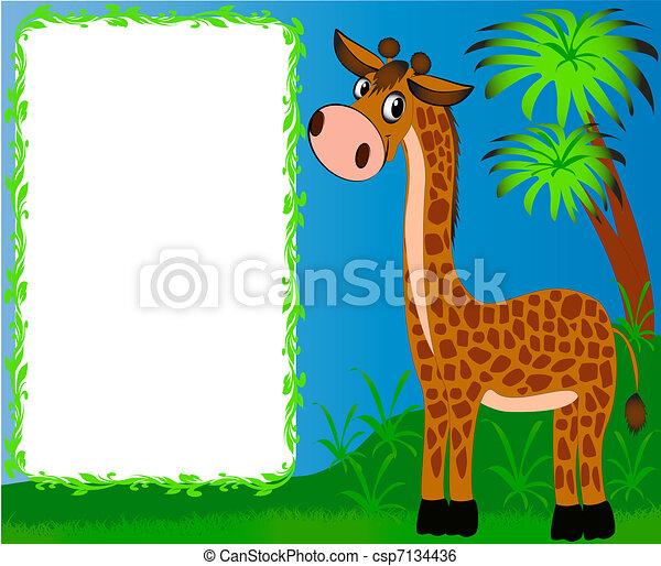 bello, vivaio, fondo, palme, giraffa, cornice - csp7134436