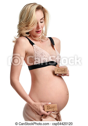ca54cbc46b195 Belly of pregnant women with sign expectation girl or boy - csp54420120