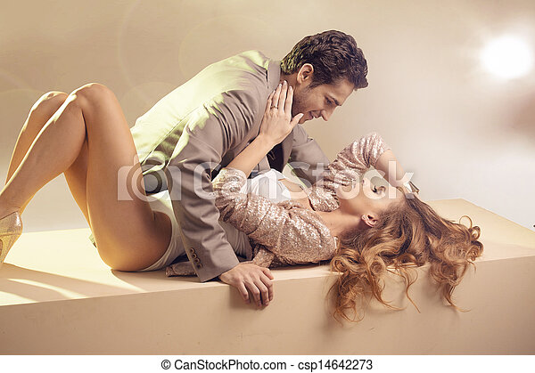 Beloved young couple touching each other - csp14642273