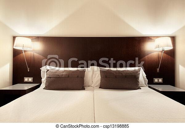 belső, hálószoba, modern, tervezés - csp13198885