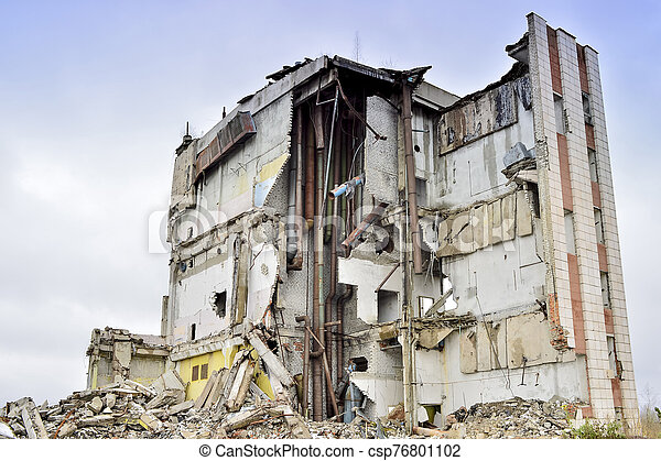 belső, ipari, lerombol, épület, kommunikatsiy., maradványok - csp76801102