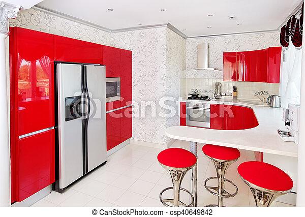 Belső, modern, piros, konyha. Belső, modern, sima, piros ...