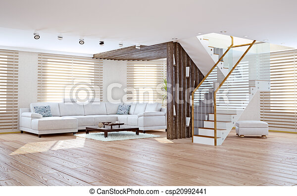 Belső, nappali. Eleven, fogalom, szoba, modern kortárs,... rajz ...