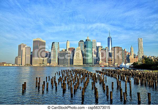 belvárosi, új, város, manhattan, york - csp56373015