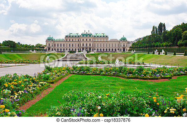 Belvedere Palace with flowers. Vienna.  Austria  - csp18337876