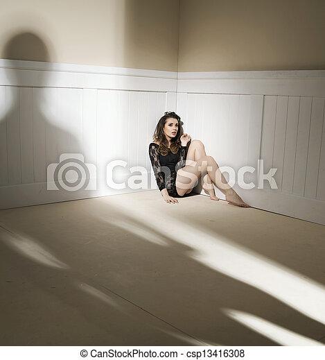 bemannen vrouw, huiselijk, uitdrukken, violence - csp13416308