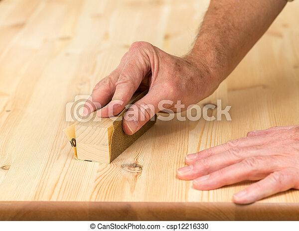 Bemannt Schleifen Kiefer Hand Holz Block Boden Schleifen