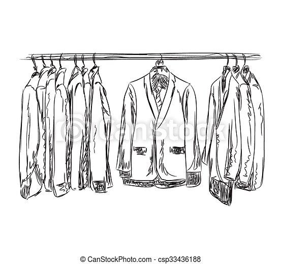 Garderobe clipart  Vektorbild von bemannt, sketch., dresscode, suit., garderobe ...