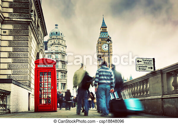 ben, 大, 電話, england, uk., 布斯, 倫敦, 紅色 - csp18848096