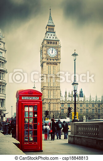 ben, 大, 電話, england, uk., 布斯, 倫敦, 紅色 - csp18848813