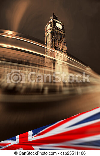 ben, 大, england, 旗, 英國, 倫敦 - csp25511106