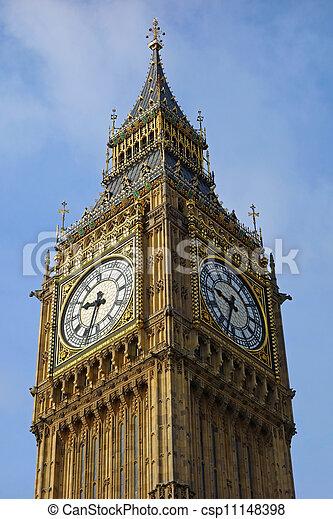 ben, elizabeth, pałac, zegar, cielna, westminster, uk., londyn, wieża - csp11148398