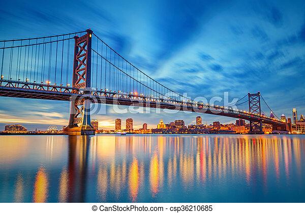 Ben Franklin Bridge in Philadelphia  - csp36210685