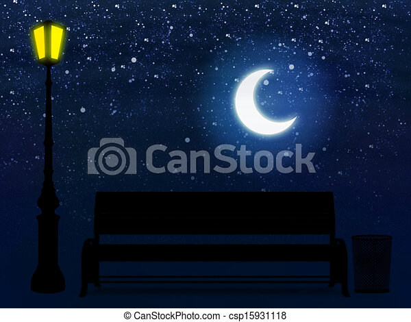 Bench And Street Lamp At Night Illustration Of 3d Yellow Park Bench