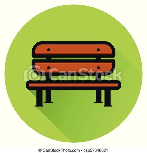 bench green circle flat icon - csp57848621