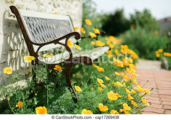 Bench in a garden surrounded by poppies - csp17269438