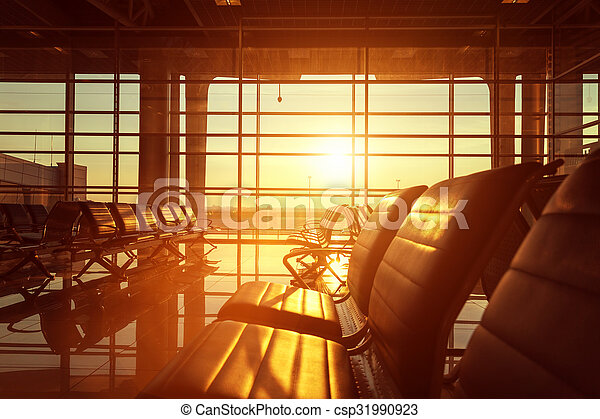 Bench in the hall of airport - csp31990923