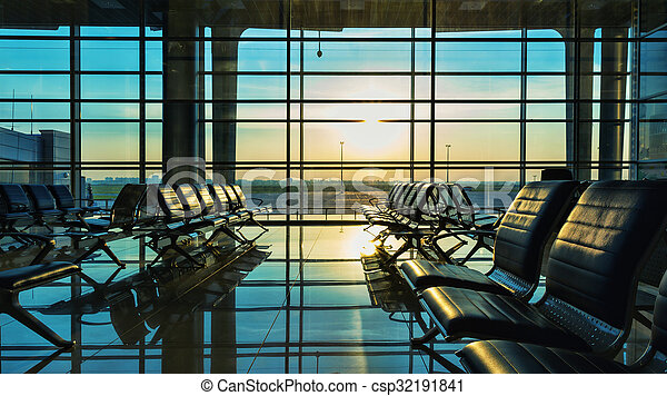 Bench in the hall of airport - csp32191841