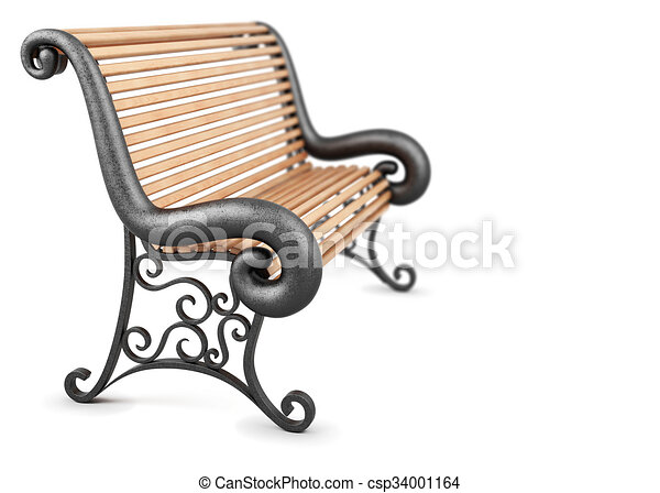 Bench Isolated On White Background 3d Rendering Stock Illustration