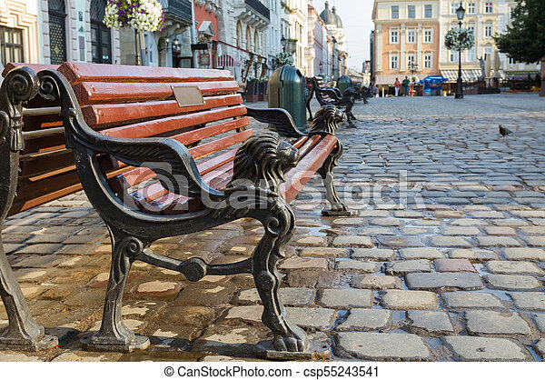 Bench on the Market Square in Lviv - csp55243541