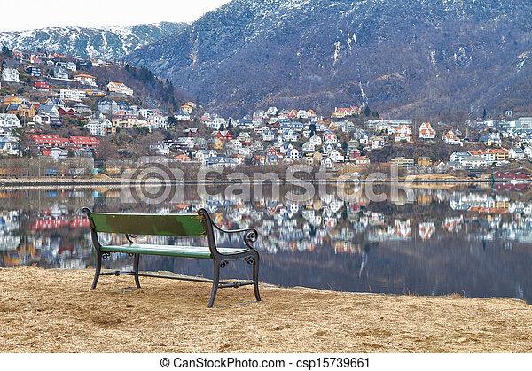 Bench on the shore Store Lungegardsvannet, Bergen, Norway - csp15739661