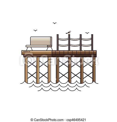 Bench on Wooden Pier Vector Illustration - csp46495421