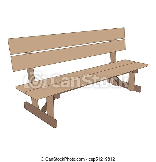 Bench park vector retro illustration white background isolated seat chair garden outdoor - csp51219812
