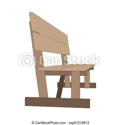 Bench park vector retro illustration white background isolated seat chair garden outdoor - csp51219813