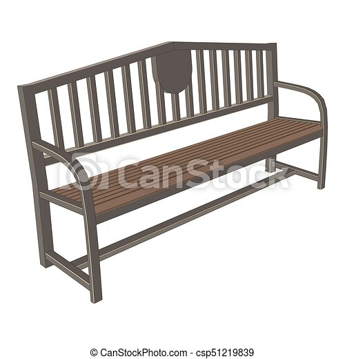 Bench Park Vector Vintage Isolated Background Wooden
