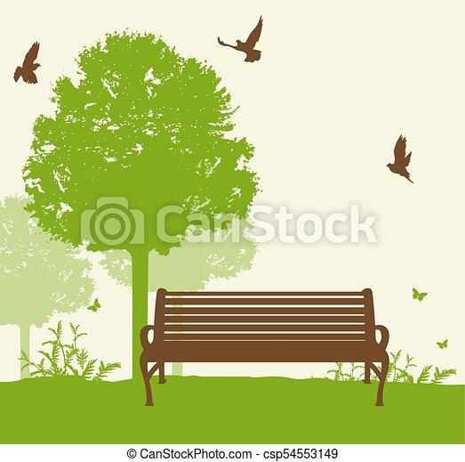 Bench under a green tree - csp54553149