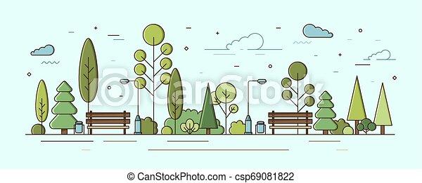 Un paisaje urbano moderno. Parque municipal o jardín comunal con árboles verdes, arbustos, luces y bancos. Zona recreativa de la ciudad o zona natural. Ilustración vectorial colorida al estilo lineal. - csp69081822