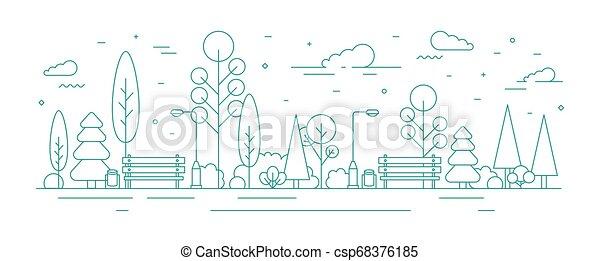 Estandarte de monocromo con parque de la ciudad o jardín, árboles, arbustos, luces de la calle y bancos. Zona recreativa urbana o zona. Ilustración creativa de vectores coloridos en estilo arte moderno. - csp68376185