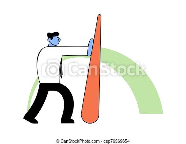Benchmarking, business concept vector illustration. Businessman pushing needle indicator. - csp76369654