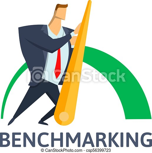 Benchmarking, business concept vector illustration. Businessman pushing needle indicator. - csp56399723